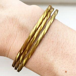 Vintage brassy gold twist bangle bracelets